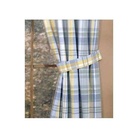 Blue Plaid Kitchen Curtains Blue Yellow Veranda Plaid Tie Back Window Curtain Decor Kitchen Design Ideas