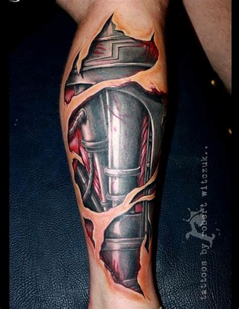 bionic tattoos 3d mechanical realistic leg on leg tattoos