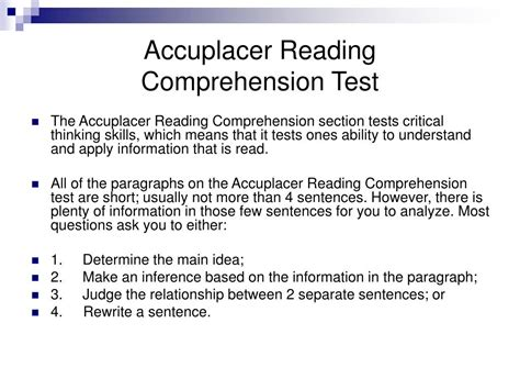 reading comprehension test sle ppt accuplacer reading comprehension test powerpoint