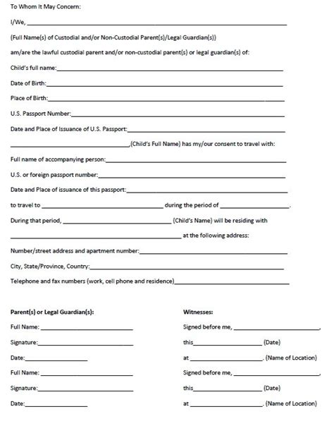 free child travel consent form template 10 free sle travel consent form printable sles