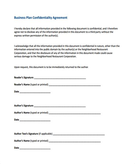 business plan non disclosure agreement template sle business confidentiality agreement template 7