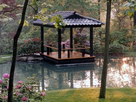 backyard pagoda intimate waterfront deck inspired by japanese pagoda