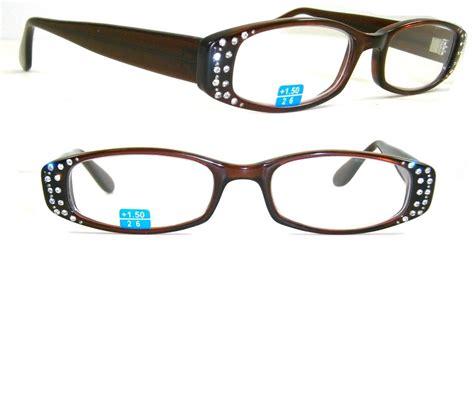 two row rhinestone reading glasses brown