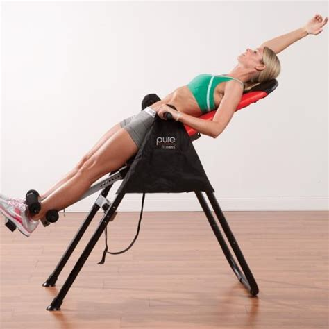 pure fitness inversion therapy table red black