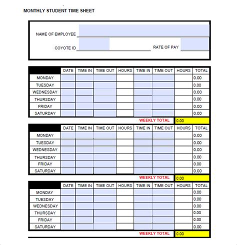 12 Sle Monthly Timesheet Templates Sle Templates Monthly Timesheet Template Excel
