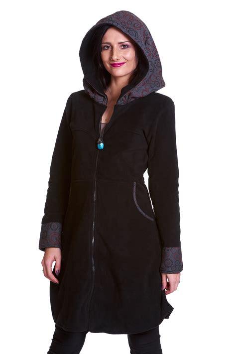 large coats large hooded fleece coat bohemian hippie boho coat altshop uk
