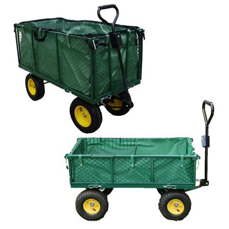Patio Carts With Wheels by Garden Heavy Duty Utility 4 Wheel Trolley Cart Dump