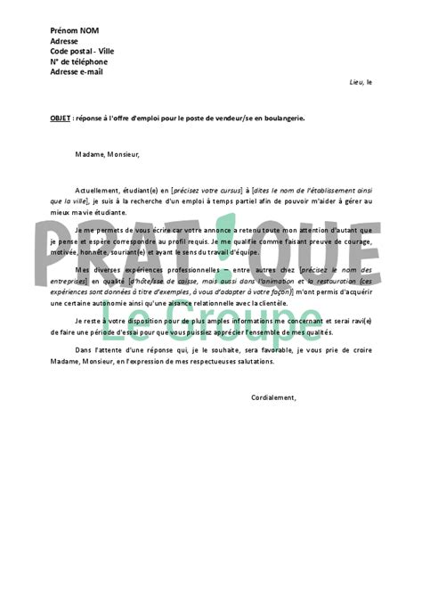 Exemple De Lettre De Motivation Pour Emploi Vendeuse modele lettre de motivation vendeuse caissiere document