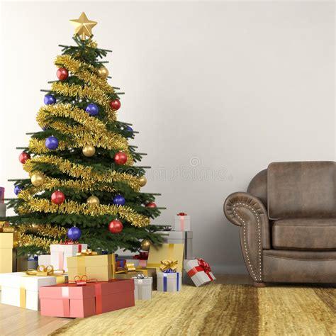 christmas tree  living room stock illustration