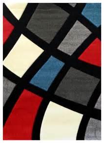 color block rug studio 606 geometric color block design area rug black