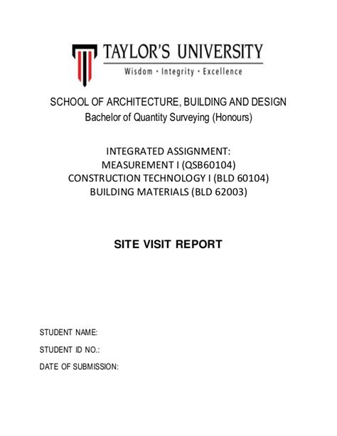 report cover page cover page for site visit report