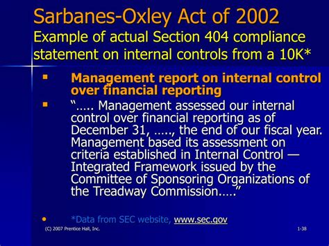 sarbanes oxley act 2002 section 404 ppt understanding financial statements eighth edition