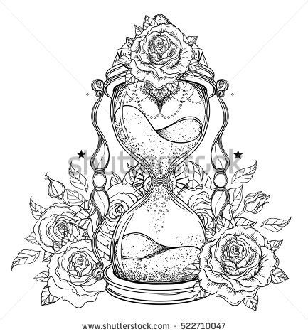 decorative antique hourglass roses illustration isolated