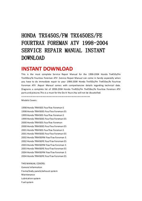 service manual repair manual download for a 1998 dodge ram 3500 service manual online repair honda trx450 sfm trx450esfe fourtrax foreman atv 1998 2004 service re