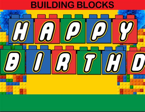 Building Blocks Happy Birthday Banner Instant Download Cupcakemakeover Lego Happy Birthday Banner Template