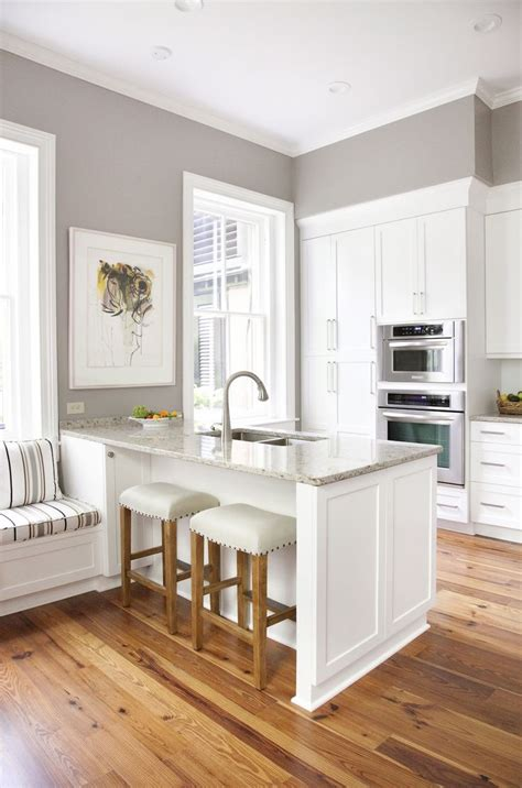 Gray Kitchen Walls With White Cabinets White Cabinets Gray Walls Marble Countertops Wood Floors Kitchens Areas