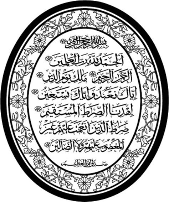 Poster Kaligrafi Surah Al Fatihah Pigura Hiasan Dinding Islami islamic calligraphy vectors