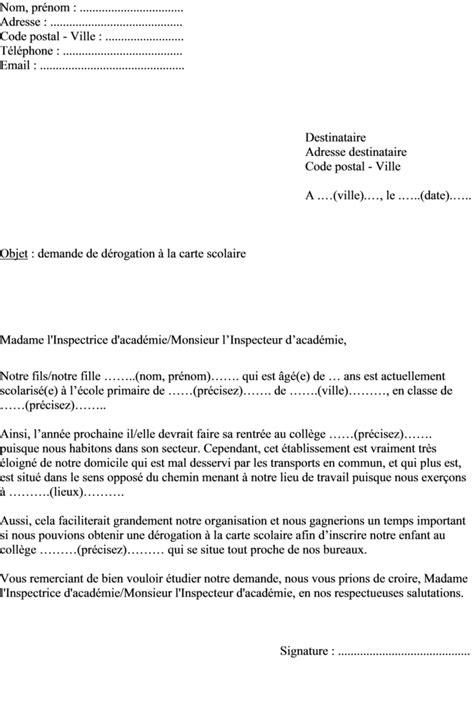Modele De Lettre Pour Dérogation College mod 232 le de lettre demande de d 233 rogation scolaire hors