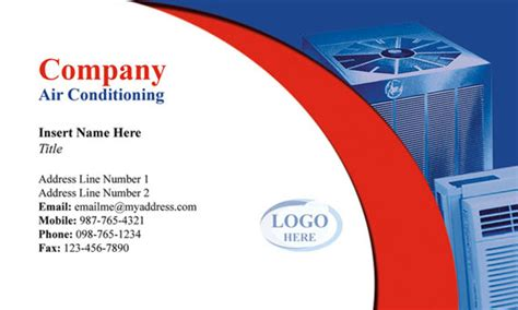 Air Business Card Template by Air Conditioning Business Card Catalogs Business Card