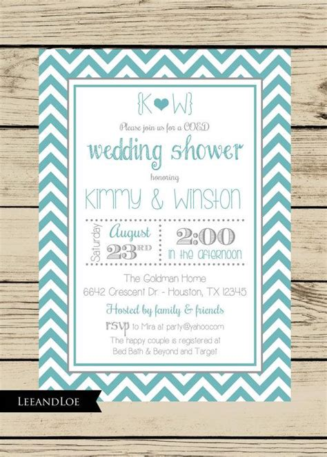 coed bridal shower chevron wedding shower invitation couples coed bridal rehearsal turquoise gray 2228954