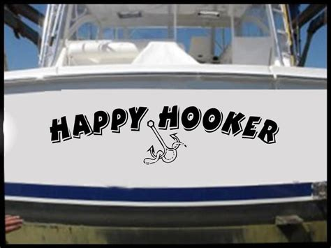 boat name stickers happy hooker vinyl decal sticker bass boat name funny fish