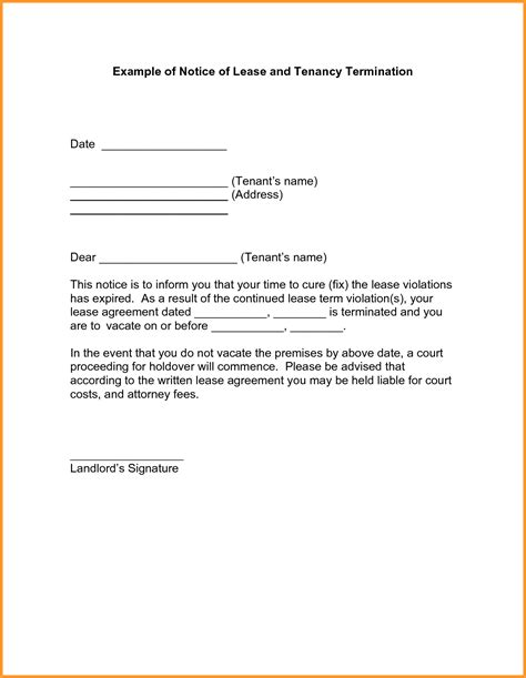 Rent Notice Letter To Tenant Notice Of Lease Termination Letter From Landlord To Tenant Letter Format Mail