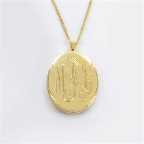 personalized engraved jewelry yellow gold sterling silver engraved oval monogram necklace
