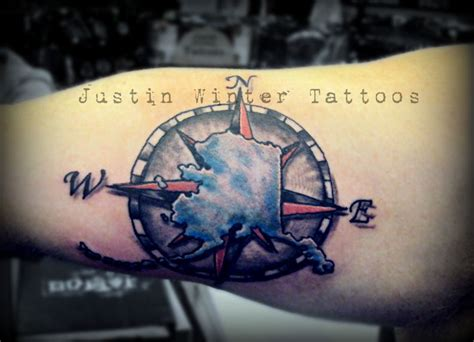 ak tattoo alaska with compass by justin winter seattle