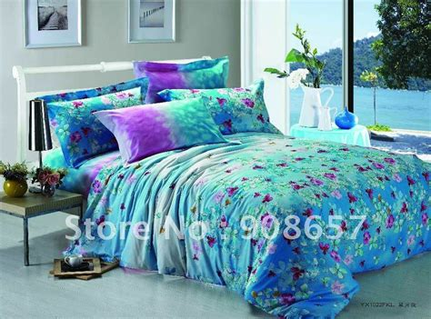 500 thread count turquoise purple floral prints cotton