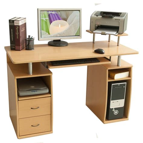 Laptop Desk With Drawers Btm Computer Desk Drawers Home Office Furniture Study Black Bench Walnut Table Ebay