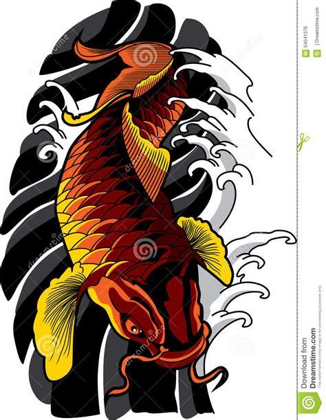 vector koi fish tattoo stock vector illustration