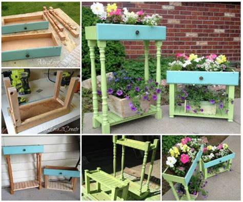 diy garden planters diy upcycled drawer into garden planters pictures photos