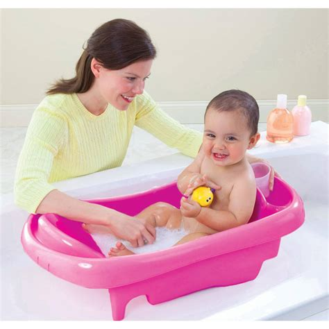 deluxe newborn to toddler tub pink baby bath tub w sling
