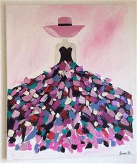 Détacher Peinture Acrylique by Tableau Moderne Femme Robe Coloree Sur Toile 55x46