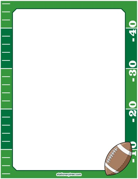 lined paper with sports border printable football stationery and writing paper free pdf