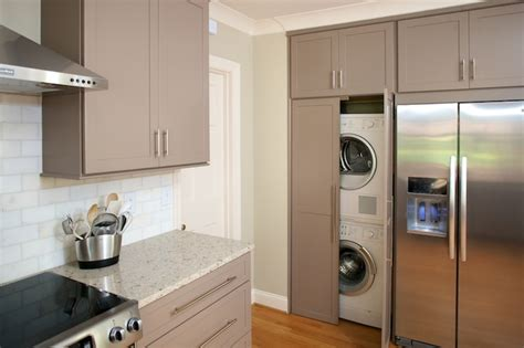 washer dryer in kitchen hidden laundry room contemporary laundry room twin