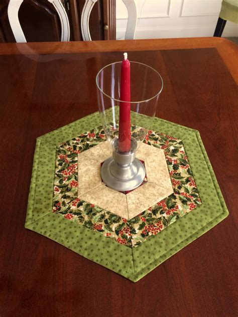 table toppers green quilted hexagon table topper by seaquilt