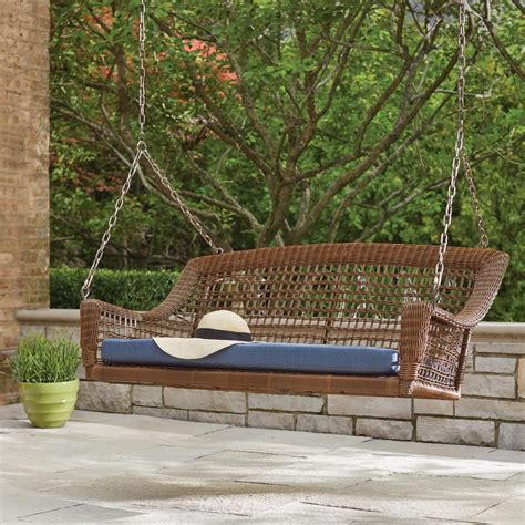 lawn swing hton bay spring haven brown 2 person wicker outdoor
