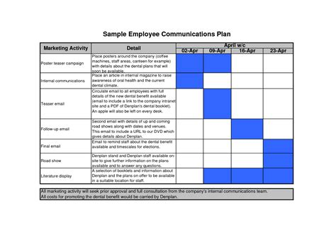 internal communications plan template template design