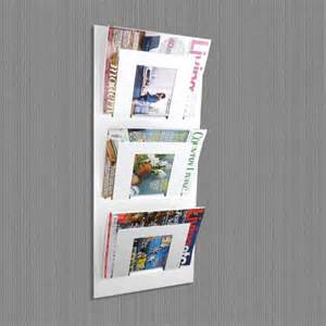 tier wall mounted metal magazine rack white