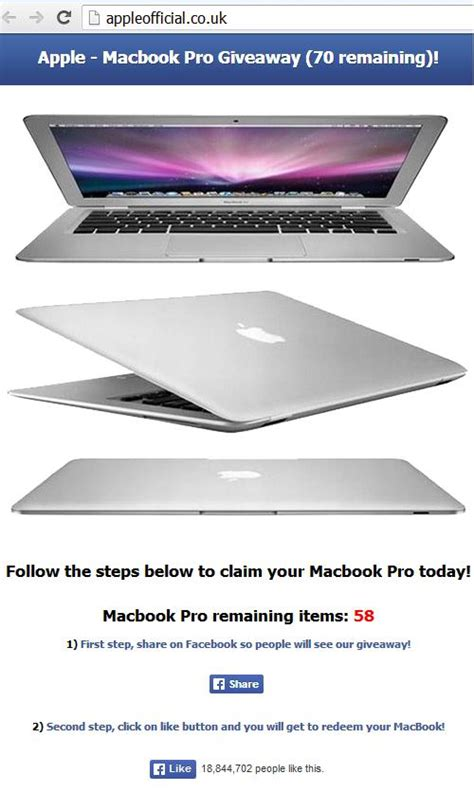 Apple Macbook Pro Giveaway - fake apple macbook pro giveaway facebook offer january 6 2014
