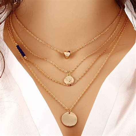Jual Jfashion New Layer Gamis Necklace Plus fashion multi layer statement pendant necklace gold chain choker collar