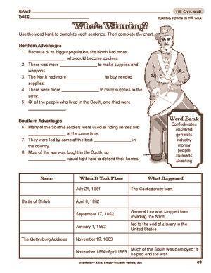 civil war worksheets 5th grade printable 4th grade social studies worksheets civil war 2nd grade