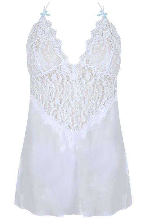 Lace Trim Set dreamgirl white lace trim babydoll set plus size 18 20