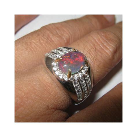 Cincin Black cincin black opal pria silver 925 ukuran 9 5us luster