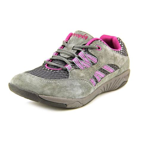 womens walking tennis shoes propet propet leila suede gray walking shoe athletic