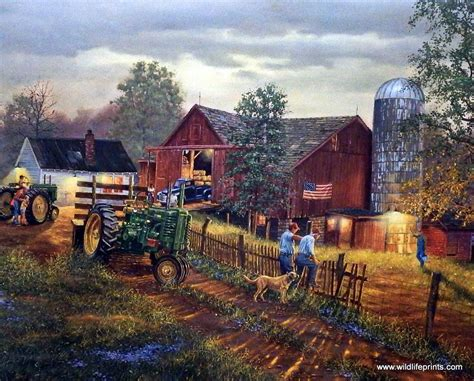 Classic American House by Artist Dave Barnhouse Unframed Farm Tractor Print America