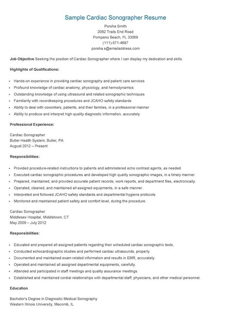 Cardiac Sonographer Resume Template by Sle Cardiac Sonographer Resume Resame