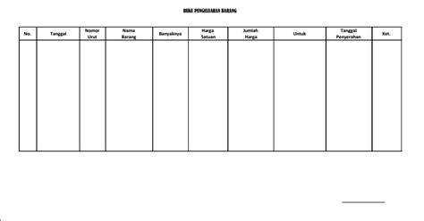 contoh buku pengeluaran barang dalam inventaris barang