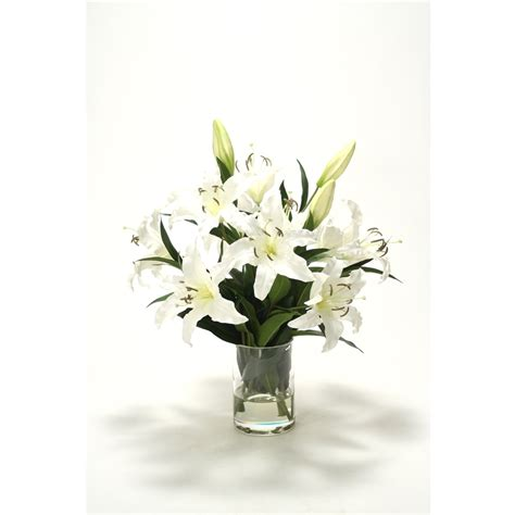 Artificial Lilies In Vase by Casablanca Lilies In Glass Cylinder Vase Free Shipping